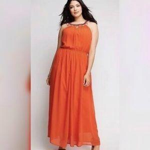 Orange embellished maxi dress from Lane Bryant